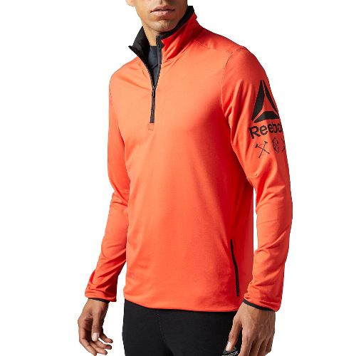Mens Reebok Bioknit Quarter Zip Half-Zips & Hoodies Technical Tops - Orange L