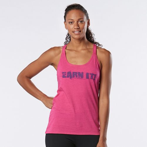 Womens Road Runner Sports Earn It Graphic Sleeveless & Tank Technical Tops - Heather Dynamo Pink M