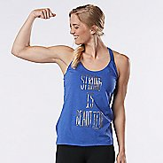 Womens Road Runner Sports Strong is Beautiful Graphic Sleeveless & Tank Technical Tops