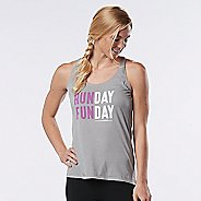 Womens Road Runner Sports Run Day Fun Day Graphic Sleeveless & Tank Technical Tops - Heather ...