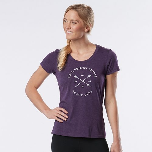 Womens Road Runner Sports Track Club Graphic Short Sleeve Technical Tops - Heather Let's Jam L