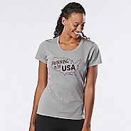 Womens Road Runner Sports Running in the USA Graphic Short Sleeve Technical Tops