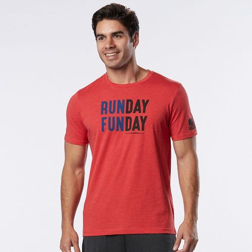 Mens Road Runner Sports Run Day Fun Day Graphic Short Sleeve Technical Tops - Heather Red Zone S