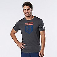 Mens Road Runner Sports U.S.A Graphic Short Sleeve Technical Tops - Heather Charcoal M