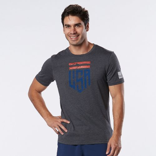 Mens Road Runner Sports U.S.A Graphic Short Sleeve Technical Tops - Heather Charcoal L