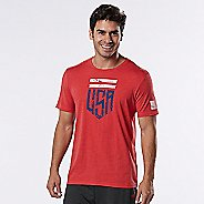Mens Road Runner Sports U.S.A Graphic Short Sleeve Technical Tops - Heather Red Zone L
