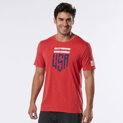 Mens Road Runner Sports U.S.A Graphic Short Sleeve Technical Tops - Heather Red Zone S