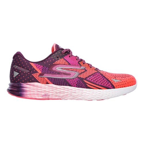 Womens Skechers GO Meb Razor Running Shoe - Purple/Pink 8.5