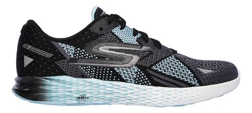 Womens Skechers GO Meb Razor Running Shoe - Black/Aqua 6.5