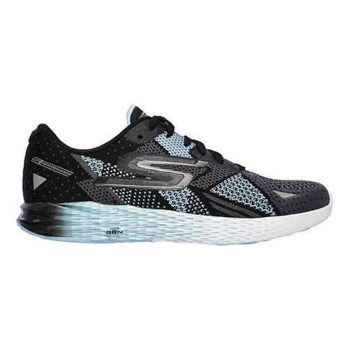 Womens Skechers GO Meb Razor Running Shoe - Black/Aqua 8.5