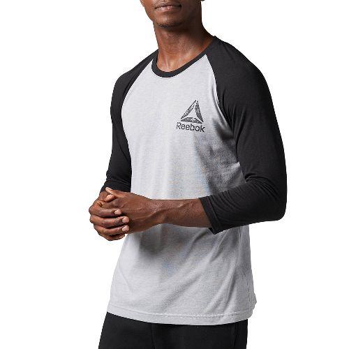 Mens Reebok Delta Baseball Tee Long Sleeve Technical Tops - Light Grey/Black XXL