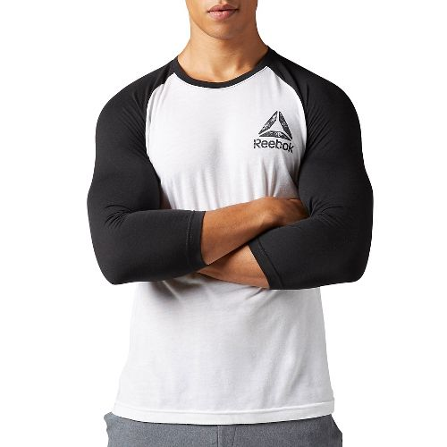 Mens Reebok Delta Baseball Tee Long Sleeve Technical Tops - White/Black M