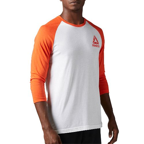 Mens Reebok Delta Baseball Tee Long Sleeve Technical Tops - Hunter Green/Black M