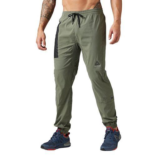 Mens Reebok Elite Woven Jogger Pants - Hunter Green L