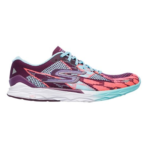 Womens Skechers GO MEB Speed 4 Running Shoe - Purple/Aqua 10