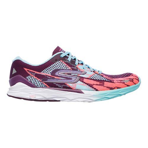 Womens Skechers GO MEB Speed 4 Running Shoe - Purple/Aqua 7.5