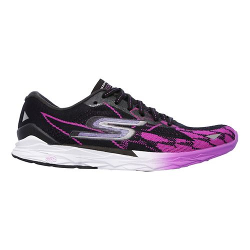 Womens Skechers GO MEB Speed 4 Running Shoe - Black/Purple 5.5