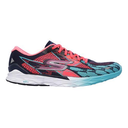 Womens Skechers GO MEB Speed 4 Running Shoe - Navy/Hot Pink 5