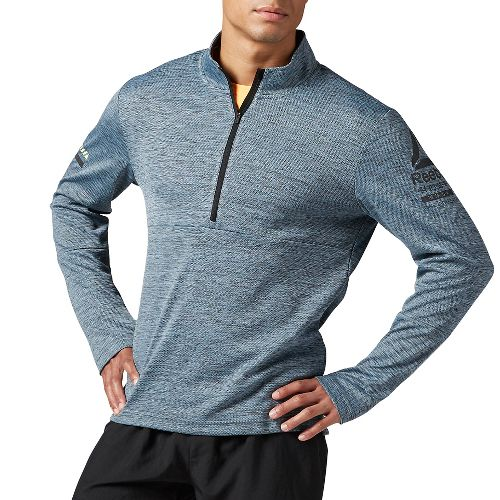 Mens Reebok Running Long Sleeve 1/2 Zip Half-Zips & Hoodies Technical Tops - Gable Grey M
