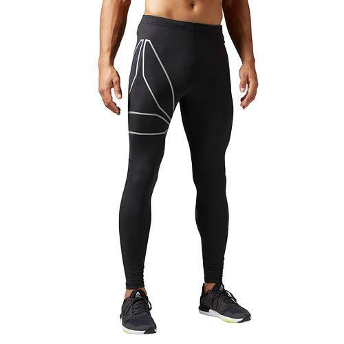 Mens Reebok Running Tights & Leggings Pants - Black L