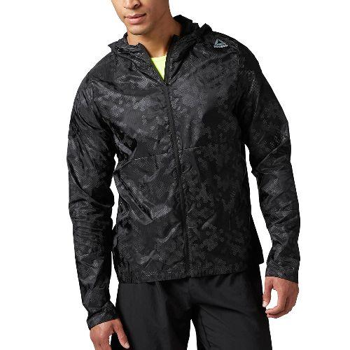 Mens Reebok Running Wind Breaker Running Jackets - Black XL