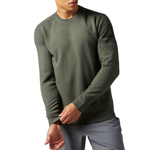 Mens Reebok Quick Cotton Crew Sweatshirt Long Sleeve Technical Tops - Hunter Green S
