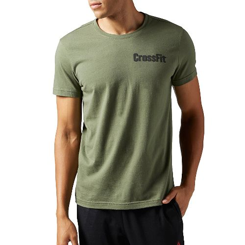 Mens Reebok CrossFit Athena Tee Short Sleeve Technical Tops - Hunter Green S