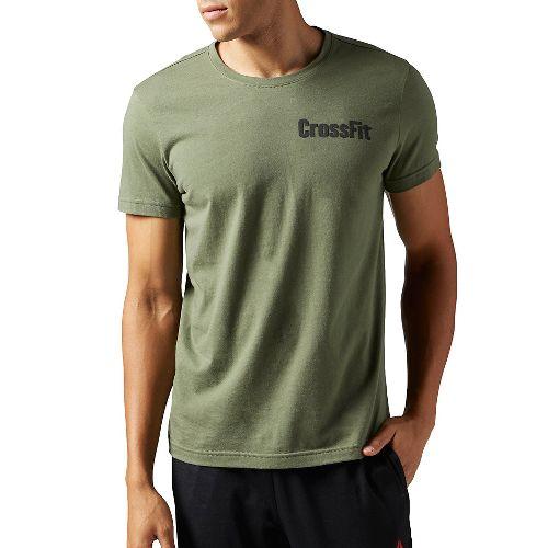 Mens Reebok CrossFit Athena Tee Short Sleeve Technical Tops - Hunter Green M