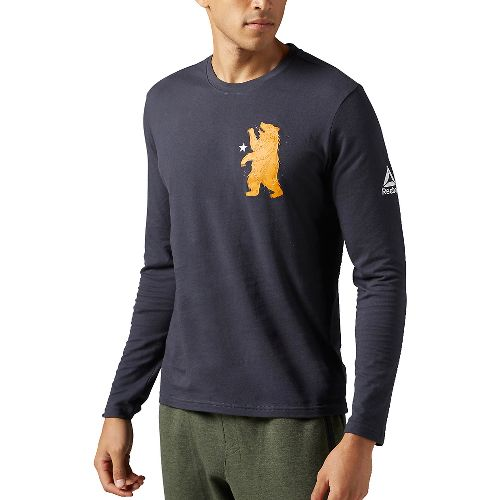 Mens Reebok CrossFit Bear Shirt Long Sleeve Technical Tops - Lead M