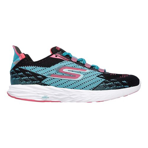 Womens Skechers GO Run 5 Running Shoe - Black/Teal 7.5