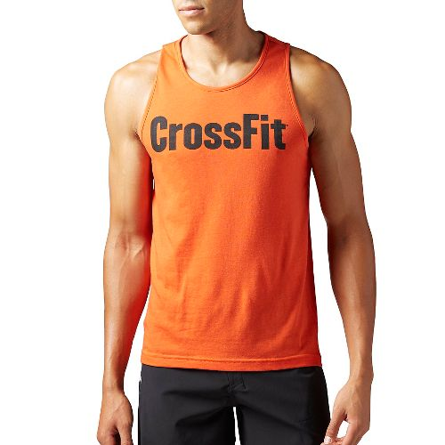 Mens Reebok CrossFit Forging Elite Fitness Sleeveless & Tank Tops Technical Tops - Orange M ...