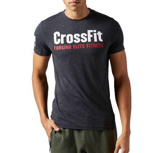 Mens Reebok CrossFit Forging Elite Fitness Tee Short Sleeve Technical Tops - Black L