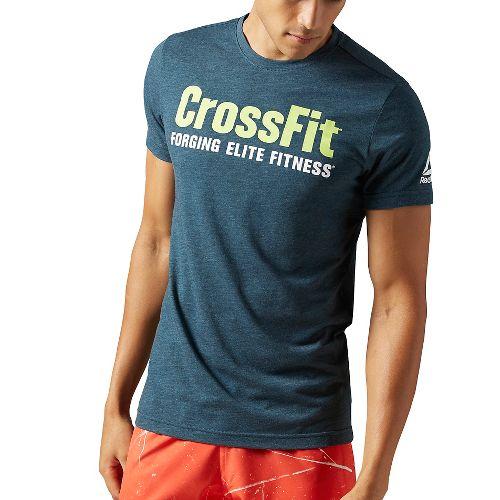Mens Reebok CrossFit Forging Elite Fitness Tee Short Sleeve Technical Tops - Mineral Blue XXL ...