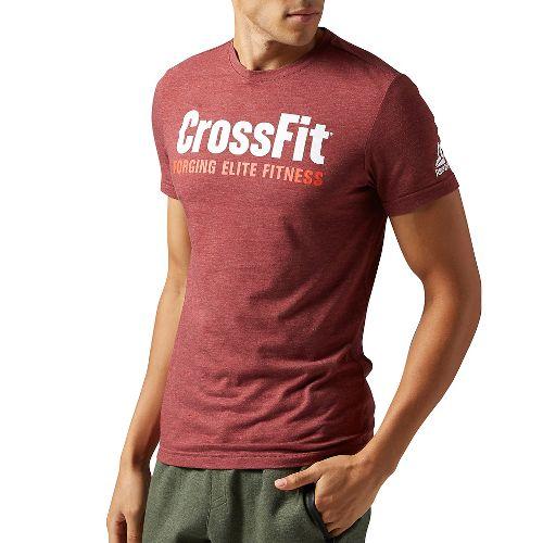 Mens Reebok CrossFit Forging Elite Fitness Tee Short Sleeve Technical Tops - Maroon XXL