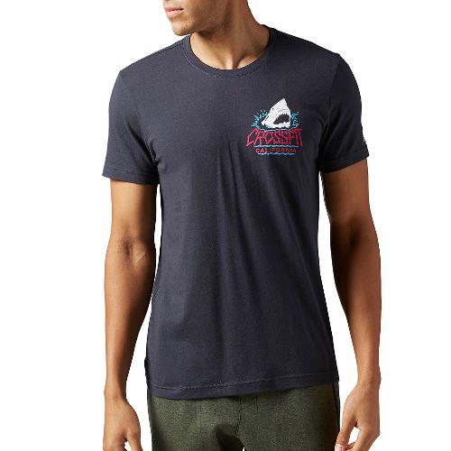 Mens Reebok CrossFit Shark Crew Short Sleeve Technical Tops - Lead XXL