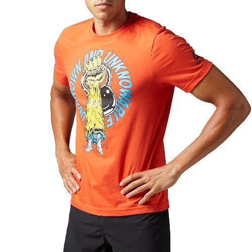 Mens Reebok CrossFit Unknown Tee Short Sleeve Technical Tops - Orange L