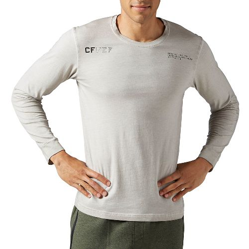 Mens Reebok CrossFit Washed Long Sleeve Technical Tops - Sand Stone L