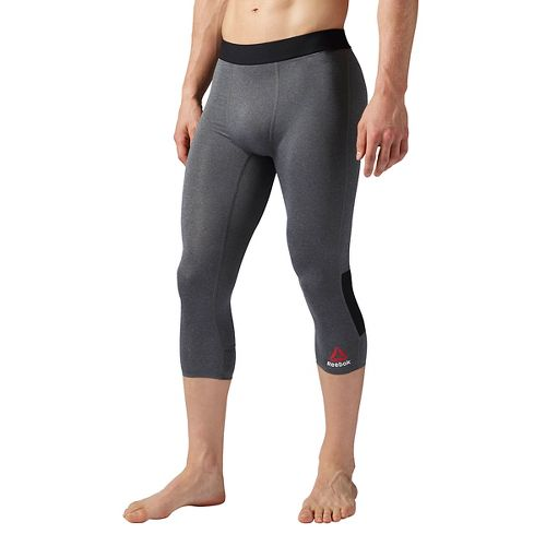Mens Reebok 3/4 Compression Tights & Leggings Pants - Grey Heather XXL