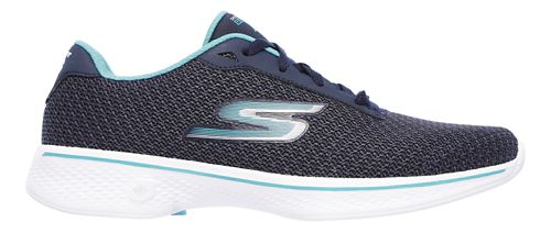 Womens Skechers GO Walk 4 - Glorify Casual Shoe - Navy/Teal 10