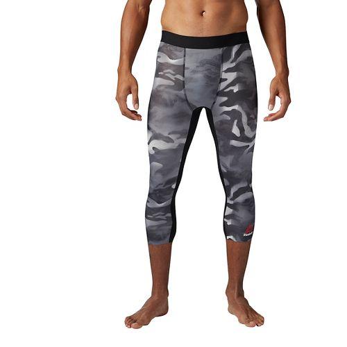 Mens Reebok Spray Camo 3/4 Tights & Leggings Pants - Black XL