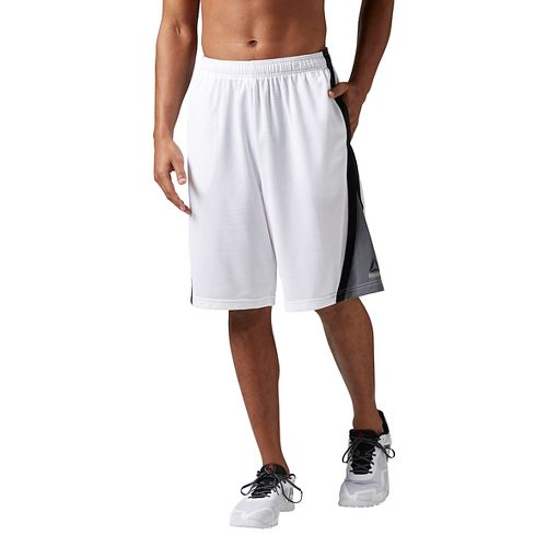 Mens Reebok Workout Ready Basketball Unlined Shorts - White L