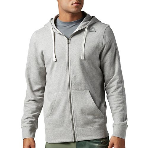 Mens Reebok Elements French Terry Full-Zip Half-Zips & Hoodies Technical Tops - Grey Heather ...