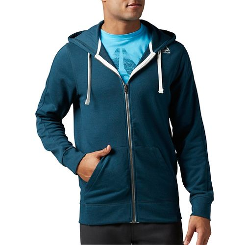 Mens Reebok Elements French Terry Full-Zip Half-Zips & Hoodies Technical Tops - Mineral Blue M ...