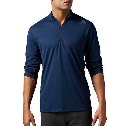 Mens Reebok Workout Ready Supremium 2.0 1/4 Zip Half-Zips & Hoodies Technical Tops - Navy ...