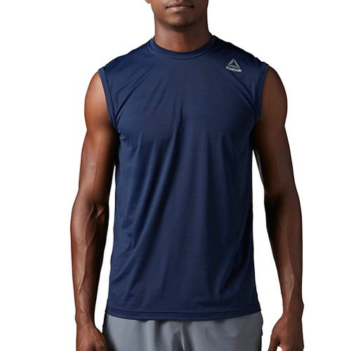 Mens Reebok Workout Ready ACTIVChill Sleeveless & Tank Tops Technical Tops - Navy XXL