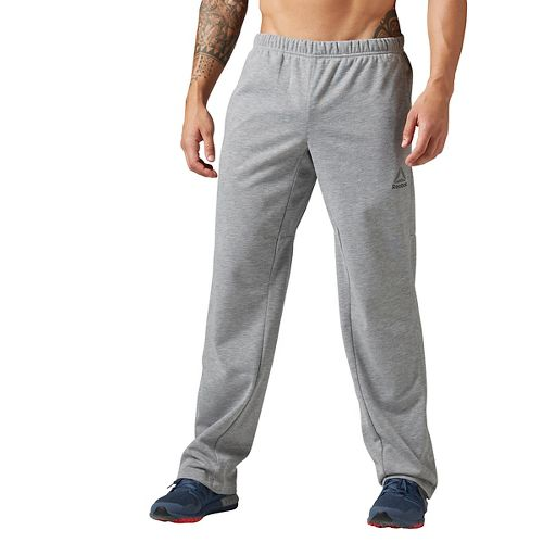 Mens Reebok Workout Ready Speedwick Open Hem Pants - Grey Heather L