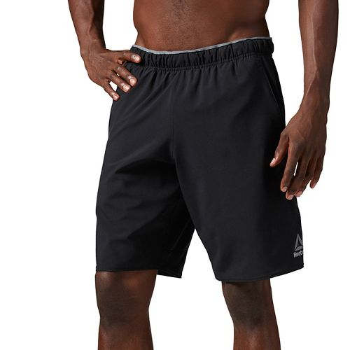 Mens Reebok Workout Ready Woven Graphic Unlined Shorts - Black L