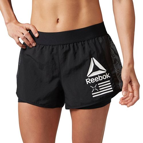 Womens Reebok 2-in-1 Shorts - Black XS