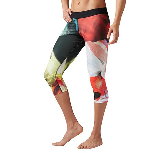 Womens Reebok Acid Fade Capri Tights & Leggings Pants - Carotene M