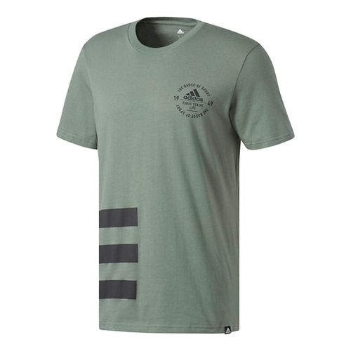 Mens Adidas Badge of Sport Side 3-Stripe Tee Short Sleeve Technical Tops - Trace Green/Black ...